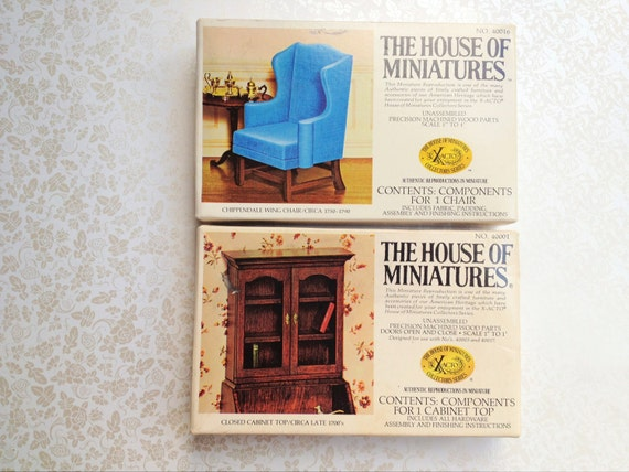 SALE- Vintage House of Miniatures Collectors Series. Build Your Own. Kit. Wood. Chippendale Chair. Cabinet. Miniature Furniture. Dollhouse.