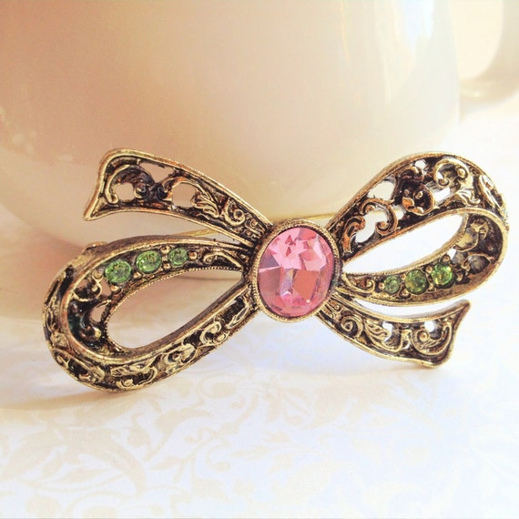 SALE- Vintage Antique Gold Bow Brooch. Pink and Green Rhinestones. Dainty. Feminine. Vintage Pin. Accessory. 1970s. Spring.