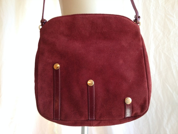 Vintage Maroon Suede Purse. Oxblood. Dark Red. Mauve. Small Medium Sized. Gold. Zippered. Cross Body. Long Strap. 1980s. Shoulder Bag.