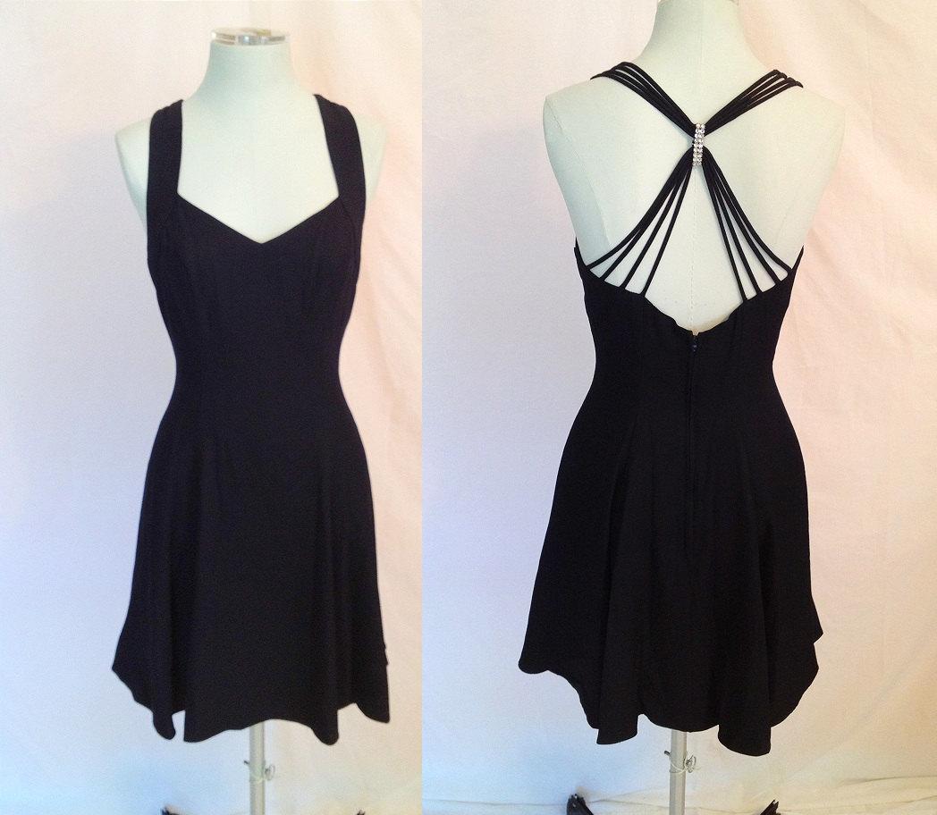 Vintage Little Black Dress. Classic. Criss-Cross Sexy Back.