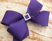 Purple Boutique Bow with Rhinestone Slider Center