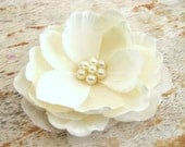 Elegant Ivory Flower Fascinator Hair Clip Magnolia with Large Cluster of Faux Pearls