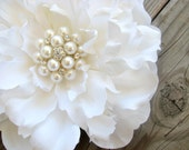 Bridal White Peony Flower Fascinator Hair Piece Clip Large Cluster of Pearls and Rhinestones Ring Bearer Pillow Accent Wedding Cake Topper