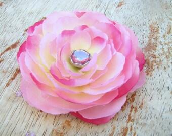 Pretty Pink Ranunculus Flower Fascinator Hair Clip with a Pink Rhinestone Button Center
