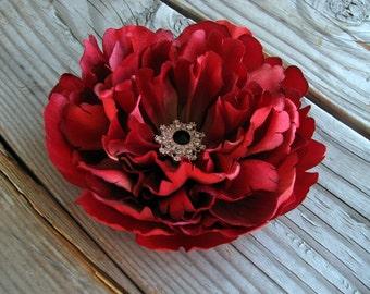 Red Peony Silk Flower Fascinator Silver Rhinestone Black Crystal Hair Clip Corsage Brooch Pin Bridal Floral Head Piece