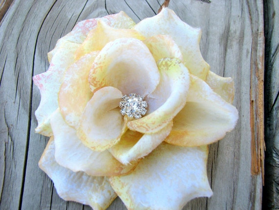 Petite Champagne Victorian Rose Flower Fascinator Hair Clip with a Rhinestone Cluster Center
