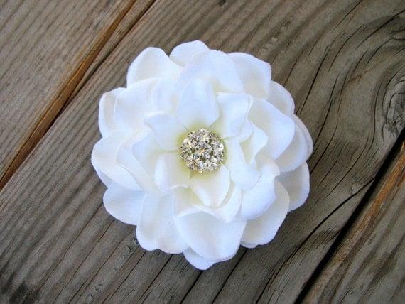 White Bridal Fascinator Hair Pin Wedding Head Piece Gardenia Clip Silk Flower Headband Bride Rhinestone Brooch Cake Topper 01522MD202