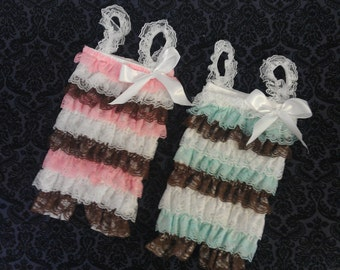 Petti Lace Romper with Shoulder Straps and Bow  15 colors  to choose from S, M, or L Multi Color