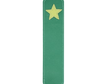 Leather Bookmark with Star Design, Green