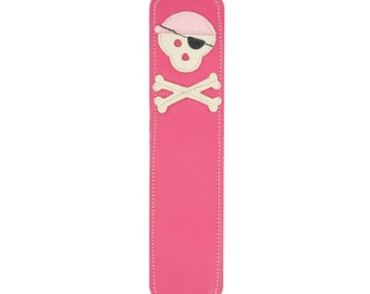 Leather Bookmark with Pirate Skull Design, Fuchsia