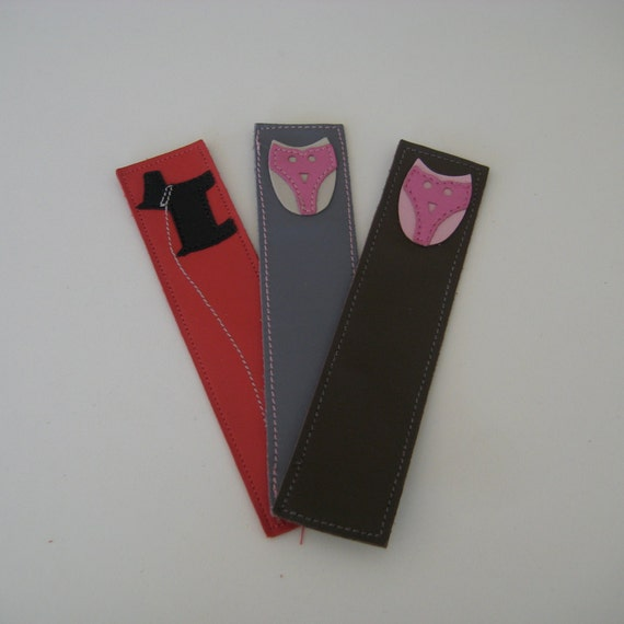 Set of 3 leather bookmarks: 1 dog and 2 owls