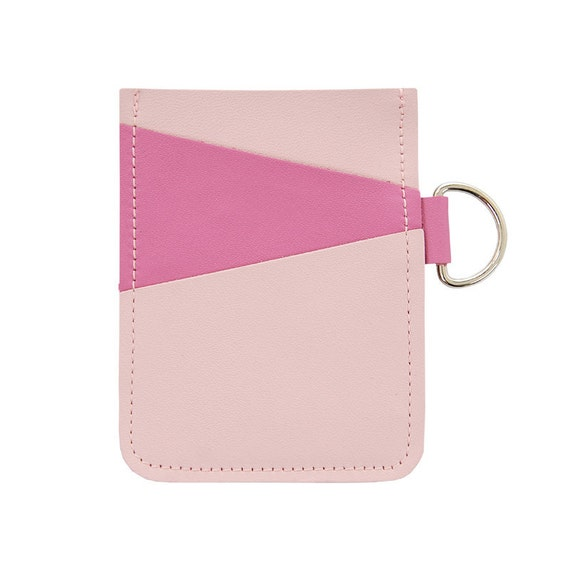 Mally Leather Business Credit Gift Card Money Holder with D ring, holds at least 12 cards - Bubblegum Pink on Soft Pink