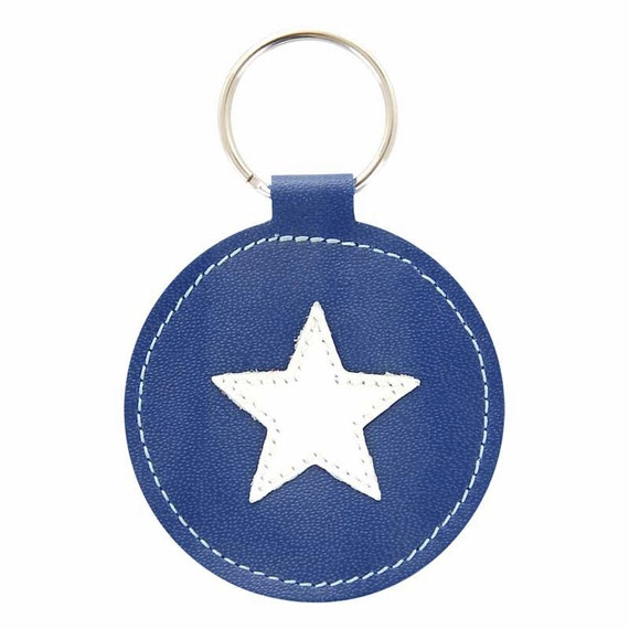 Mally Designs Round Star Leather Keychain Key Holder - White Star on Royal Blue