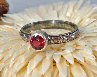 Locally Cut Hot Pink Natural Rhodolite Garnet Ring with Oxidized Floral Pattern Silver 5 1/2  Free Shipping
