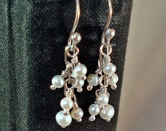 Handmade Sterling Silver and White Freshwater Pearl Short Dangle Earrings