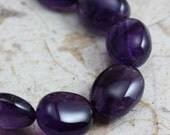 Amethyst Beads Large Oval Nuggets  - 10 beads