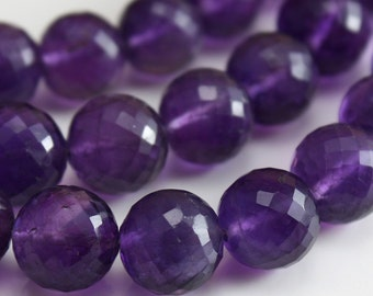 Amethyst Gemstone Beads AA Micro faceted Round Beads - Select Size 8mm - 10mm