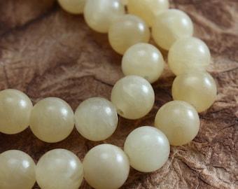 Aragonite 6mm Round Beads - Half Strand
