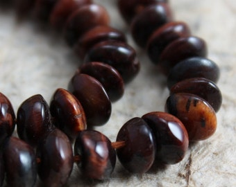 Red Tiger Eye 6mm Saucers - 30 beads