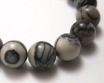 Silk Stone 8mm Round Beads - Half or Full Strand