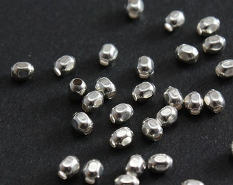 Sterling Silver Beads Faceted Square  2.5mm - Select Pack Size