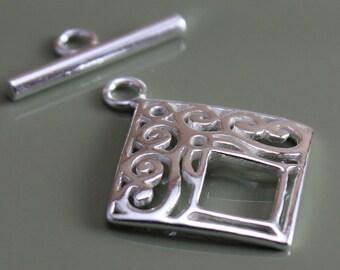 Sterling Silver Clasp  Filigree Diamond Toggle 22mm