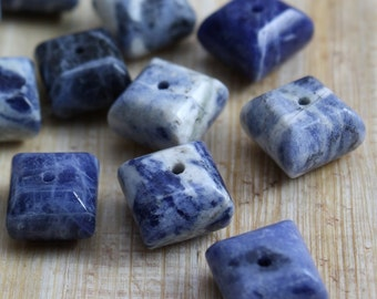 Sodalite Beads 8mm Puffed Squares - 20 beads