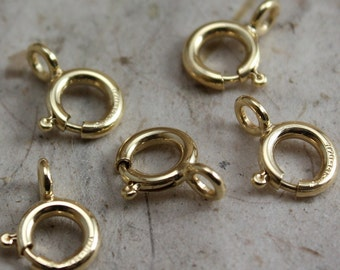 14k Gold Filled Clasps 7mm Spring Ring Clasps - Select Pack Size