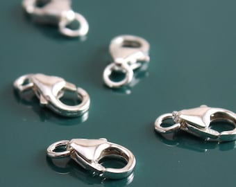 Sterling Silver Lobster Clasp 9mm Oval with Ring - 5 clasps