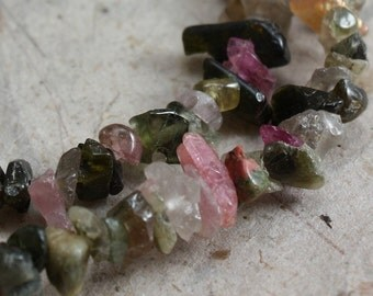 Multicolored Tourmaline Chips 15 in strand
