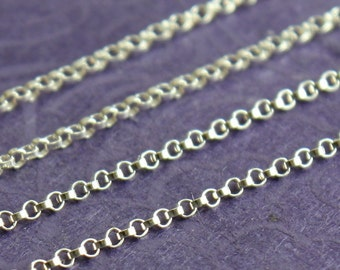 Sterling Silver Chain by the Foot - Petite Rolo Chain - Select Lengths