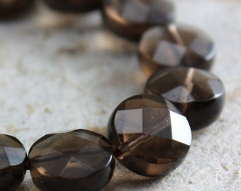 Smoky Quartz faceted coin beads 8mm - Half Strand