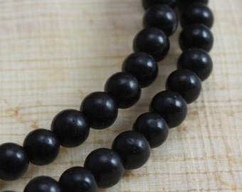 Black Obsidian Beads 4mm Round  Full Strand
