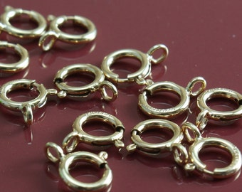 14k Gold Filled Clasps - 5.5mm Spring Ring Clasps with Closed Ring 14/20 - Select Pack Size