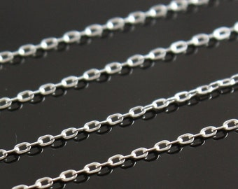 Sterling Silver Chain Bulk - Drawn Flat Oval Cable Chain 2mm x 1mm -  SAVE 5 - 10% Select Bulk Lengths 5 - 12 feet
