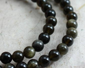 Gold sheen Obsidian Beads 4mm Round - 30 beads