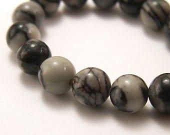 Silk stone Beads 6mm Round - Half Strand