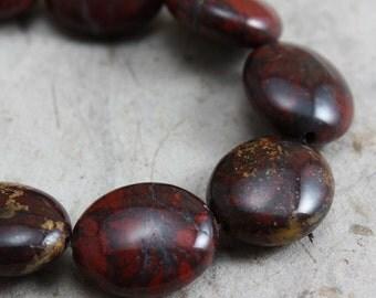 Brecciated Jasper Beads Flat Oval  14mm x 12mm - 8 beads