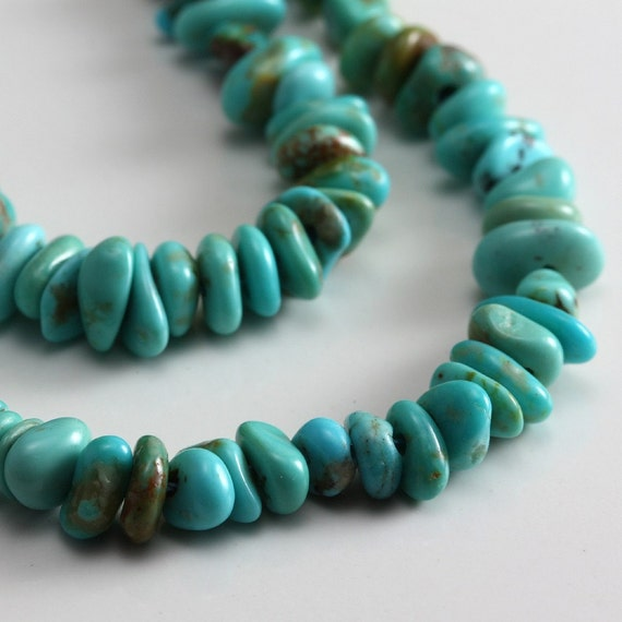Castle Dome Turquoise Beads Mixed Rounded Chips - Full Strand
