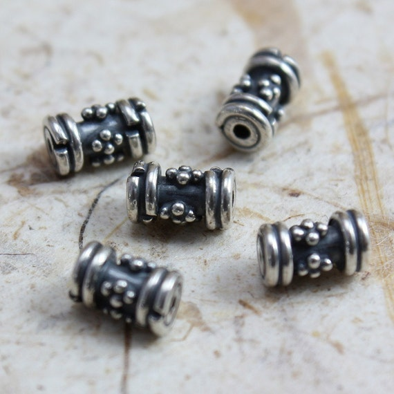 Sterling Silver Beads Bali style fancy cylinder beads 6.5mm x 4mm - 5 beads