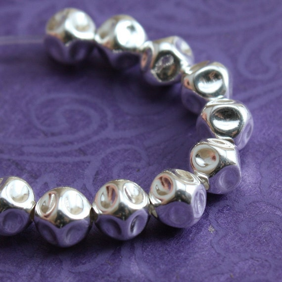 Sterling Silver Beads 5mm Crinkled Nugget  - 10 beads