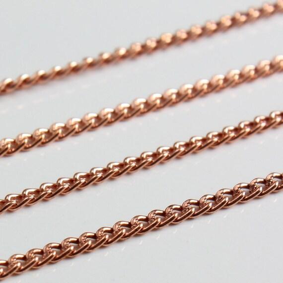 Bulk Solid Copper Chain - Fine Curb Chain - 6 Feet - SAVE 5 PERCENT