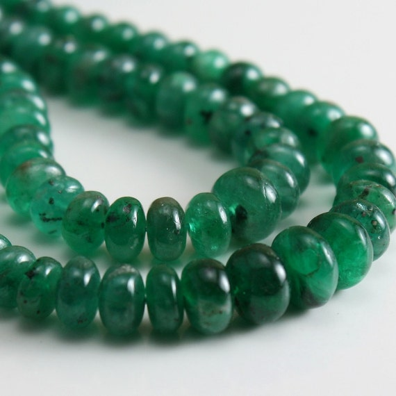 Genuine Emerald Rondelles Graduated Smooth 4mm - 5mm - 8 beads