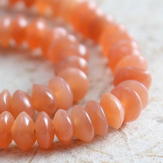 Peach Moonstone Beads 4mm Saucer - 50 beads