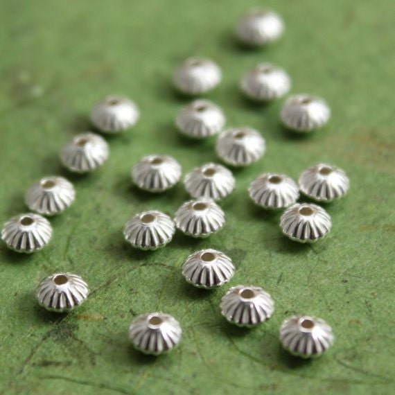 Sterling Silver Spacer Beads 3.3mm fluted saucers - 100 beads
