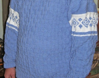 Cotton Basket-Weave and Fair Isle sweater