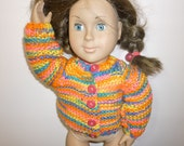 "Striped hand knit sweater and leggings for American Girl or 18"" doll. Sale. Free ship this week."