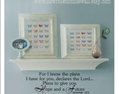 For I know the plans I have for you  Declares the Lord Jeremiah 29--9.5x28.5 Vinyl Lettering Wall Saying