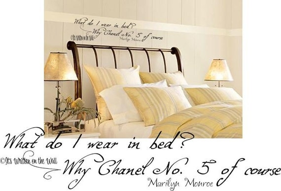 Marilyn Monroe Quote Chanel No. 5  Vinyl Lettering Wall Sayings SHIP IS ONLY 2.99 FOR UNLIMITED PURCHASES-We have 61 vinyl colors