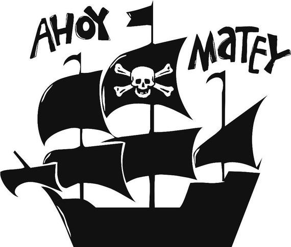 Pirate Ship Boat Boys Skull Bones Graphic Vinyl Lettering Wall